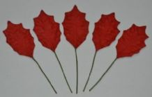 RED HOLLY LEAVES (30mm) Mulberry Paper leaves (2nd's)